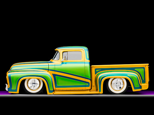 AUT 14 BK0026 01 © Kimball Stock 1956 Ford F-100 Pickup Truck Custom Green And Gold Profile View Studio