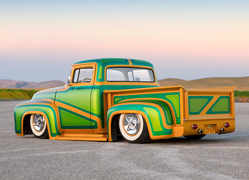 AUT 14 BK0028 01 © Kimball Stock 1956 Ford F-100 Pickup Truck Custom Green And Gold 3/4 Rear View On Pavement By Hills