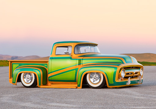 AUT 14 BK0030 01 © Kimball Stock 1956 Ford F-100 Pickup Truck Custom Green And Gold 3/4 Front View On Pavement By Hills