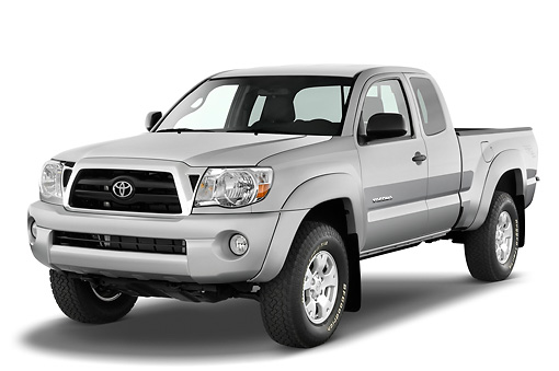 AUT 14 IZ0010 01 © Kimball Stock 2010 Toyota Tacoma Access Cab Pickup Truck Silver 3/4 Front View Studio