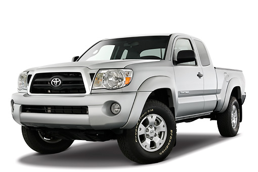 AUT 14 IZ0011 01 © Kimball Stock 2010 Toyota Tacoma Access Cab Pickup Truck Silver 3/4 Front View Studio