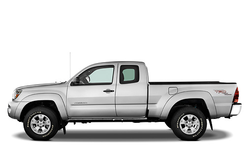 AUT 14 IZ0013 01 © Kimball Stock 2010 Toyota Tacoma Access Cab Pickup Truck Silver Profile View Studio