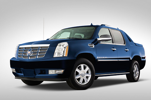 AUT 14 IZ0023 01 © Kimball Stock 2008 Cadillac Escalade EXT Pickup Truck Blue 3/4 Front View Studio