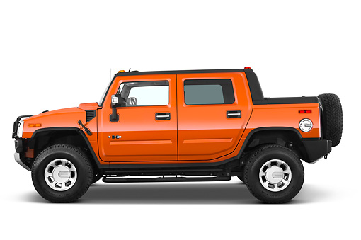 AUT 14 IZ0038 01 © Kimball Stock 2010 Hummer H2 SUT Orange Profile View Studio