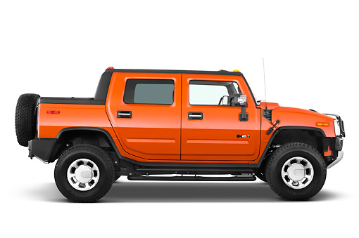 2010 Hummer H2 Sut Orange Profile View Studio Kimballstock