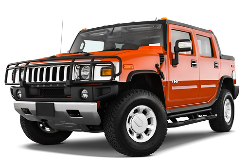 AUT 14 IZ0042 01 © Kimball Stock 2010 Hummer H2 SUT Orange 3/4 Front View Studio