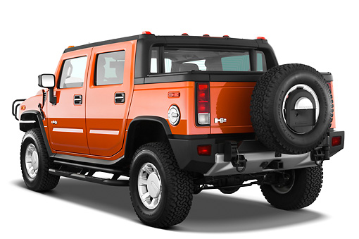 AUT 14 IZ0043 01 © Kimball Stock 2010 Hummer H2 SUT Orange 3/4 Rear View Studio