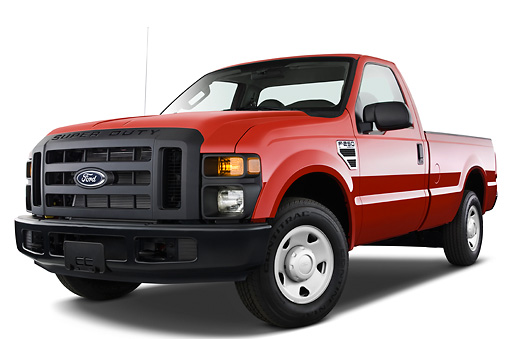 AUT 14 IZ0048 01 © Kimball Stock 2010 Ford F-250 Red 3/4 Front View Studio