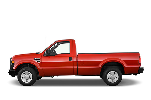 AUT 14 IZ0050 01 © Kimball Stock 2010 Ford F-250 Red Profile View Studio