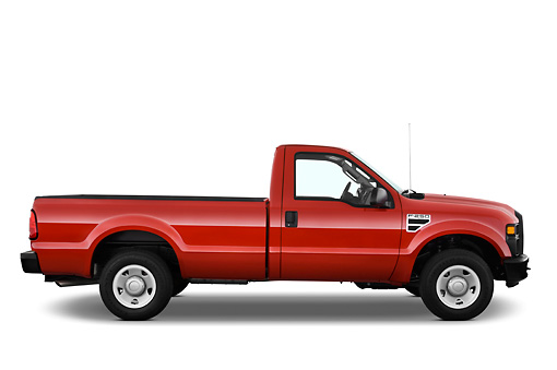 AUT 14 IZ0051 01 © Kimball Stock 2010 Ford F-250 Red Profile View Studio