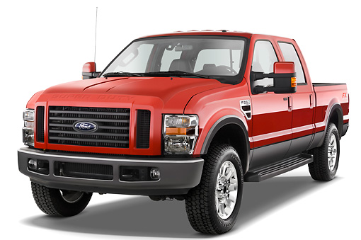 AUT 14 IZ0052 01 © Kimball Stock 2010 Ford F-250 Crew Cab Red 3/4 Front View Studio