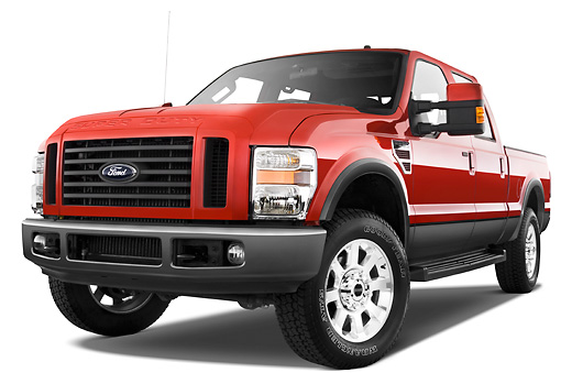 AUT 14 IZ0053 01 © Kimball Stock 2010 Ford F-250 Crew Cab Red 3/4 Front View Studio
