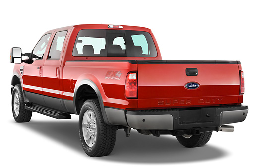 AUT 14 IZ0054 01 © Kimball Stock 2010 Ford F-250 Crew Cab Red 3/4 Rear View Studio