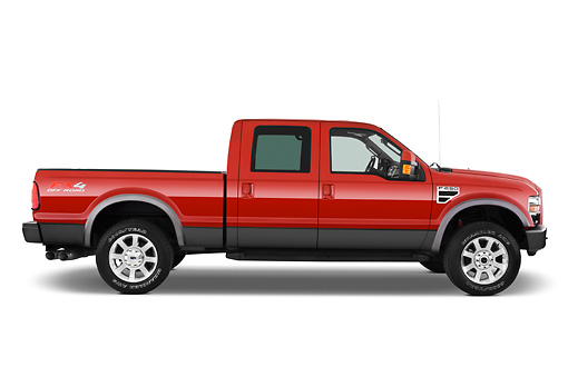 AUT 14 IZ0056 01 © Kimball Stock 2010 Ford F-250 Crew Cab Red Profile View Studio