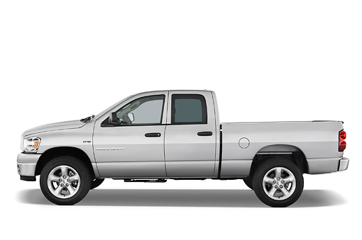 AUT 14 IZ0057 01 © Kimball Stock 2007 Dodge Ram 1500 Quad Cab Pickup Truck Silver Profile View Studio