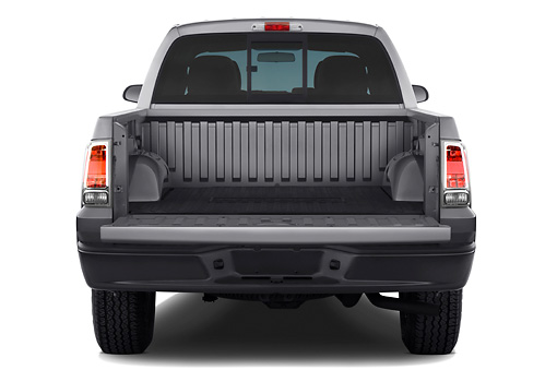 AUT 14 IZ0067 01 © Kimball Stock 2008 Mitsubishi Raider Double Cab LS Pickup Truck Gray Rear View Tailgate Down Studio