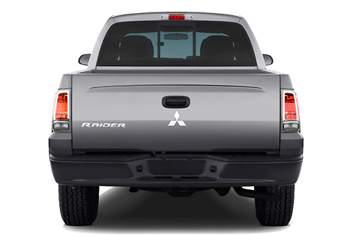 AUT 14 IZ0068 01 © Kimball Stock 2008 Mitsubishi Raider Double Cab LS Pickup Truck Gray Rear View Studio