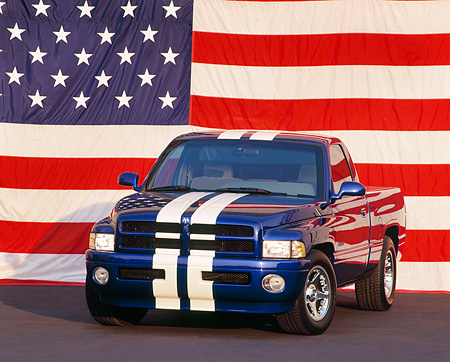 AUT 14 RK0232 04 © Kimball Stock Dodge Viper Ram VTS Concept Truck Blue 3/4 Front View American Flag Background