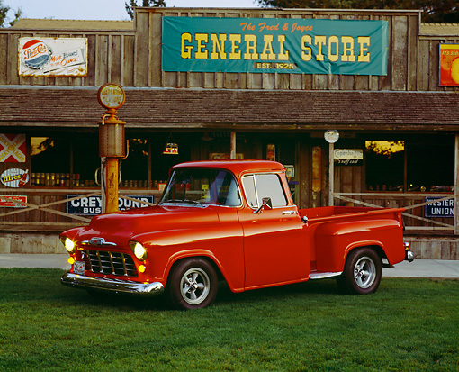 AUT 14 RK0425 03 © Kimball Stock 1955 Chevrolet 1/2 Ton Pickup Truck Red 3/4 Side View By Store