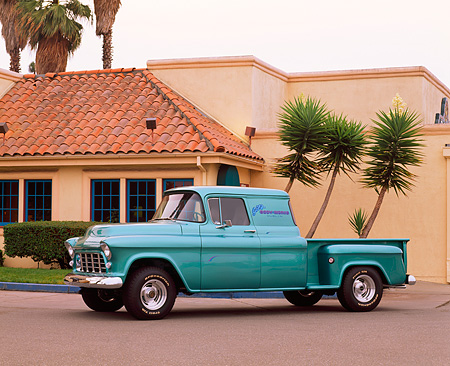 AUT 14 RK0434 04 © Kimball Stock 1956 Chevrolet Pickup Truck Green Blue 3/4 Side View By Building