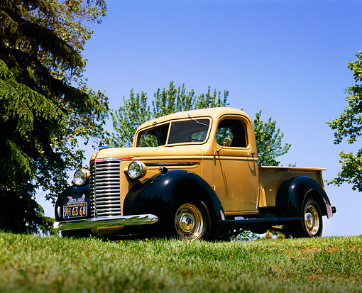 AUT 14 RK0675 01 © Kimball Stock 1939 Chevrolet Pickup Truck Tan And Blue Low 3/4 Front View On Grass Trees Blue Sky