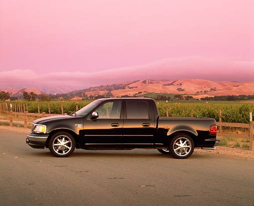 AUT 14 RK0727 01 © Kimball Stock 2002 Ford F-150 XLT Black Profile View On Pavement By Vineyard Filtered