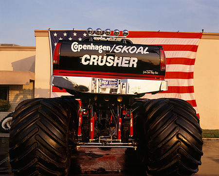 AUT 14 RK0827 02 © Kimball Stock 1990 Chevrolet Monster Truck Copenhagen Skoal Crusher Rear View