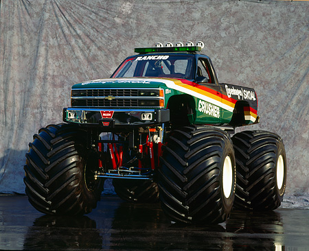 AUT 14 RK0829 09 © Kimball Stock 1990 Chevrolet Monster Truck Copenhagen Skoal Crusher 3/4 Front Gray Marble Background