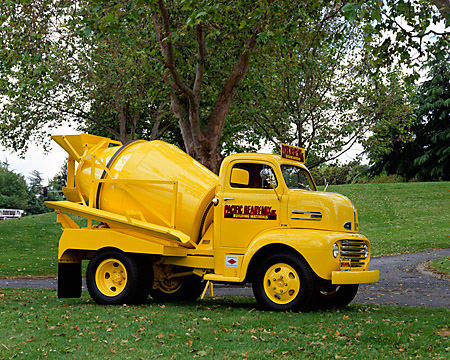 AUT 14 RK0949 02 © Kimball Stock 1948 Ford F6 Cement Truck Yellow