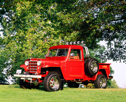 AUT 14 RK0986 02 © Kimball Stock 1952 Willys Overland 4x4 Truck Orange