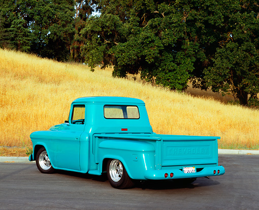 AUT 14 RK1009 01 © Kimball Stock 1957 Chevy Pick Up Truck Turquoise