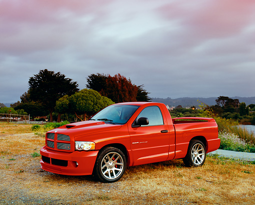 AUT 14 RK1013 02 © Kimball Stock 2004 Dodge Ram SRT-10 Truck Red