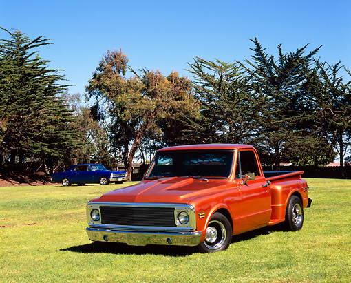 AUT 14 RK1033 01 © Kimball Stock 1972 Chevrolet Pickup Truck Copper 3/4 Front View On Grass By Trees