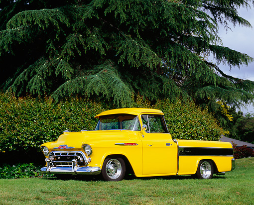 AUT 14 RK1064 02 © Kimball Stock 1957 Chevy Cameo Carrier Pick Up Truck Yellow And Black 3/4 Side View On Grass Trees Background