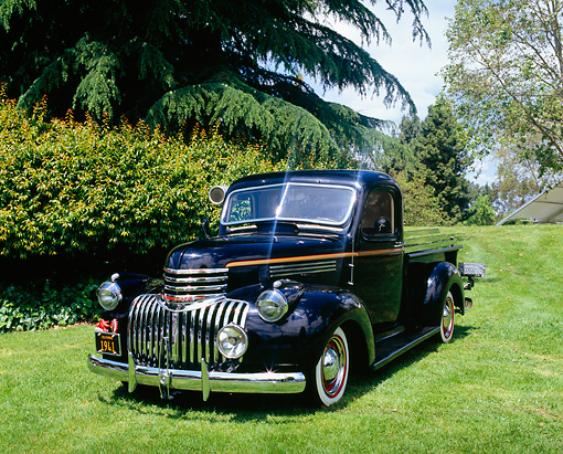 AUT 14 RK1069 01 © Kimball Stock 1941 Chevrolet 1-Ton Pickup Truck Black And Gold 3/4 Front View On Grass By Trees