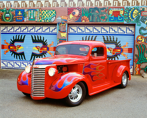 AUT 14 RK1081 03 © Kimball Stock 1940 Chevy 1/2 Ton Pick Up Truck Red With Flames 3/4 Front View On Pavement By Artwork