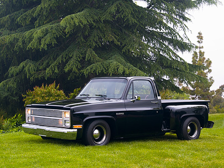 AUT 14 RK1160 01 © Kimball Stock 1987 Chevrolet Silverado Pick Up Truck Black 3/4 Side View On Grass By Trees