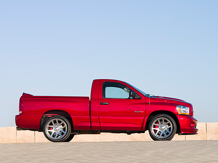 AUT 14 RK1176 01 © Kimball Stock 2006 Dodge Ram SRT-10 Pick Up Truck Red Low Profile View On Pavement