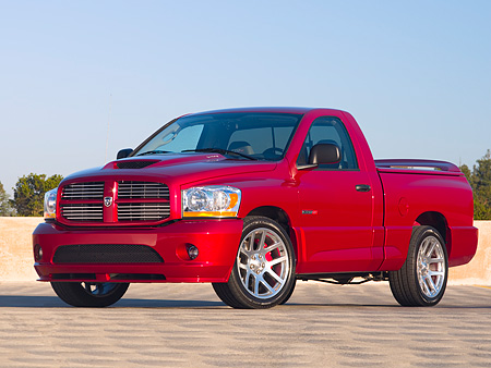 AUT 14 RK1178 01 © Kimball Stock 2006 Dodge Ram SRT-10 Pick Up Truck Red Low 3/4 Side View On Pavement