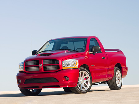 AUT 14 RK1183 01 © Kimball Stock 2006 Dodge Ram SRT-10 Pick Up Truck Red Low 3/4 Front View On Pavement