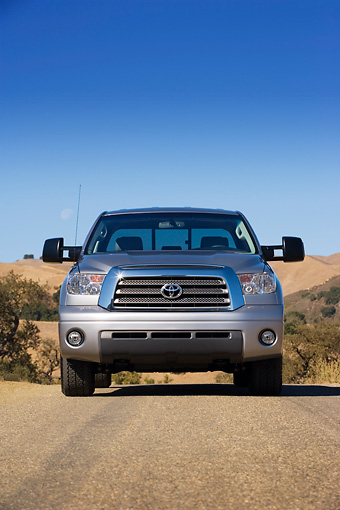 AUT 14 RK1243 01 © Kimball Stock 2007 Toyota Tundra Double Cab Limited TRD Slate Low Head On View On Pavement