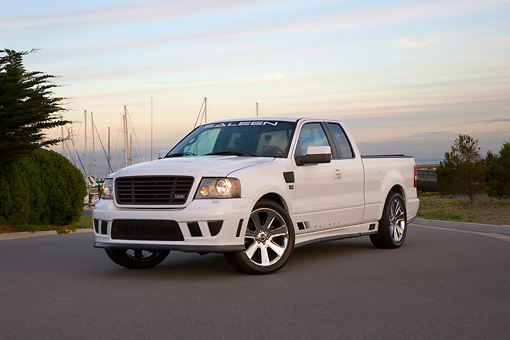 AUT 14 RK1294 02 © Kimball Stock 2007 Saleen S331 Supercharged Sport Truck White Low 3/4 Front View On Pavement