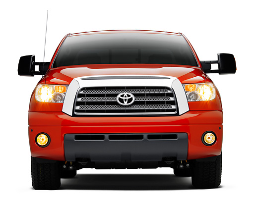 AUT 14 RK1315 01 © Kimball Stock 2007 Toyota Tundra TRD Off Road Red Head On View On Seamless Studio