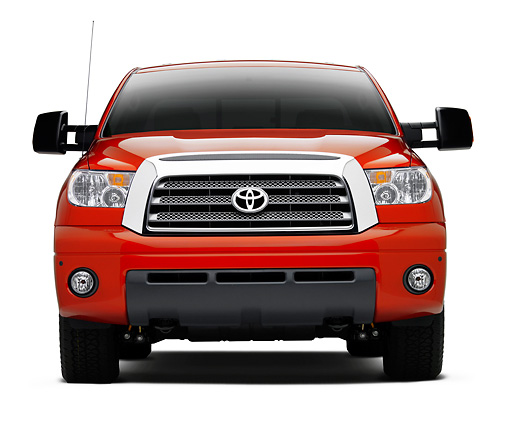 AUT 14 RK1315 02 © Kimball Stock 2007 Toyota Tundra TRD Off Road Red Head On View On Seamless Studio
