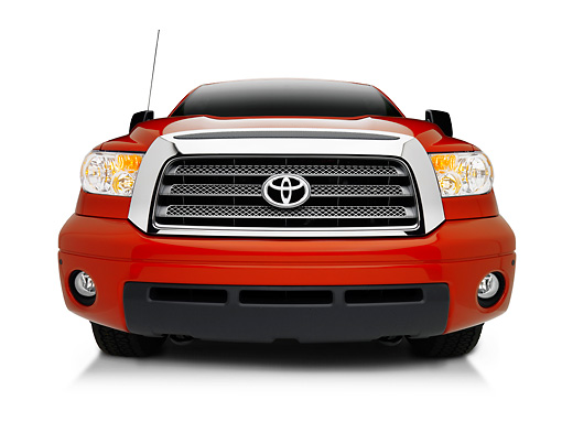 AUT 14 RK1316 01 © Kimball Stock 2007 Toyota Tundra TRD Off Road Red Low Head On View On Seamless Studio