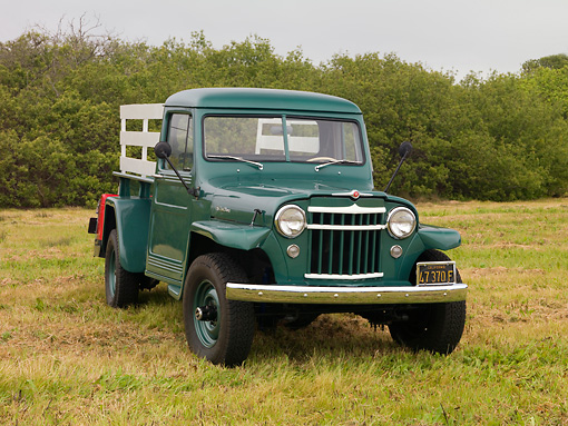 AUT 14 RK1339 01 © Kimball Stock 1956 Willys Jeep Pick Up Truck L6-226 Green 3/4 Front View On Grass