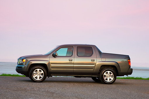 AUT 14 RK1364 01 © Kimball Stock 2008 Honda Ridgeline RTS Gray Profile View On Dirt By Water
