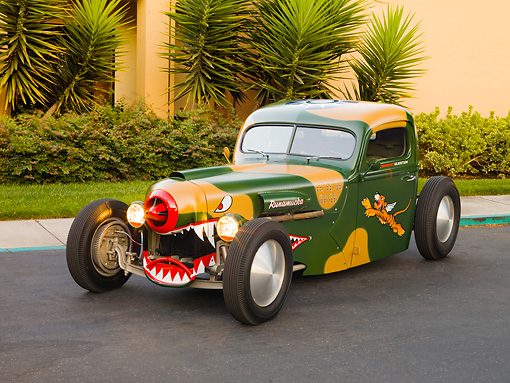 AUT 14 RK1392 01 © Kimball Stock 1942 Ford Pickup Truck Custom Camouflage Warhawk Flying Tiger Art 3/4 Front View On Pavement By Building