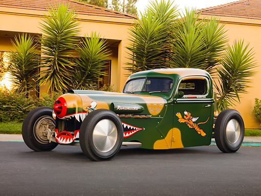 AUT 14 RK1393 01 © Kimball Stock 1942 Ford Pickup Truck Custom Camouflage Warhawk Flying Tiger Art 3/4 Front View On Pavement By Building