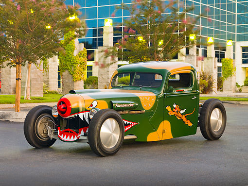 AUT 14 RK1394 01 © Kimball Stock 1942 Ford Pickup Truck Custom Camouflage Warhawk Flying Tiger Art 3/4 Front View On Pavement By Building